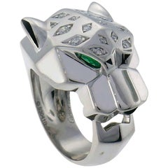 Panthere de Cartier Diamond White Gold Ring Black Onyx Emerald