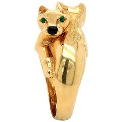 Panthère de Cartier Emerald and Onyx 18 Karat Gold Ring