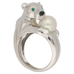 Panthère de Cartier Emerald and Pearl Panther Ring in Solid 18 Karat White Gold
