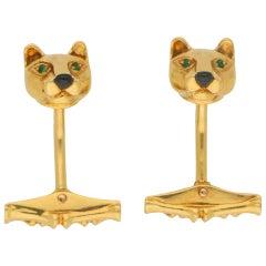 Panthère de Cartier Emerald Swivel Bar Panther Cufflinks in 18 Karat Yellow Gold