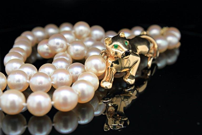 Round Cut Panthère de Cartier Gold, Tsavorite, Onyx and Akoya Pearl Necklace