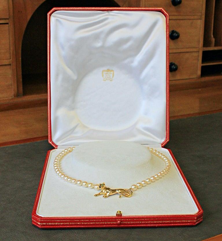 Panthère de Cartier Gold, Tsavorite, Onyx and Akoya Pearl Necklace 4