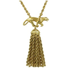 Panthere De Cartier Panther Pendant with Tassel Yellow Gold Necklace