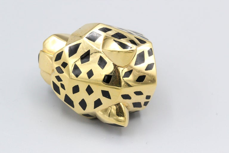 Pear Cut Panthere de Cartier Peridot, Onyx, 18 Karat Gold and Lacquer Ring For Sale