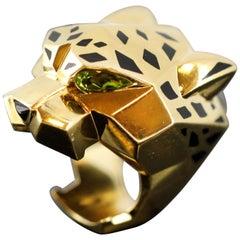 Panthère de Cartier Ring, 18 Karat Yellow Gold, Lacquer, Peridots, Onyx