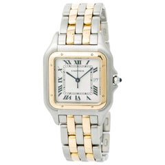 Panthere de Cartier Two Tone Men's Watch 18 Karat Yellow Gold and Steel