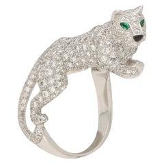 Panthere de Cartier Walking Panther Diamond Ring in White Gold