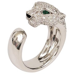 Panthère de Cartier White Gold Diamond Emerald and Onyx Stone Ring