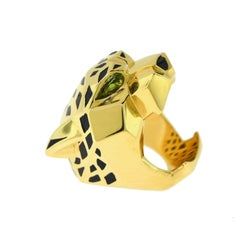 Panthère de Cartier Black Onyx, Peridot, Black Lacquer 18 Karat Yellow Ring