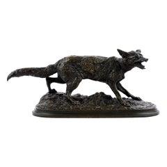 """Panting Fox"" '1847' Atelier Bronze Sculpture by Pierre Jules Mene"