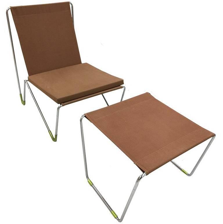 Panton Verner Bachelor Chair with Stool/Brown