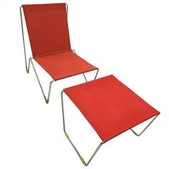 Panton Verner Bachelor Chair with Stool/Red