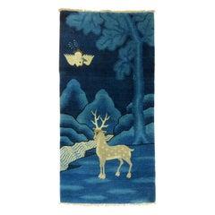 Pantone Classic Blue Antique Tibetan Pictorial Deer Rug