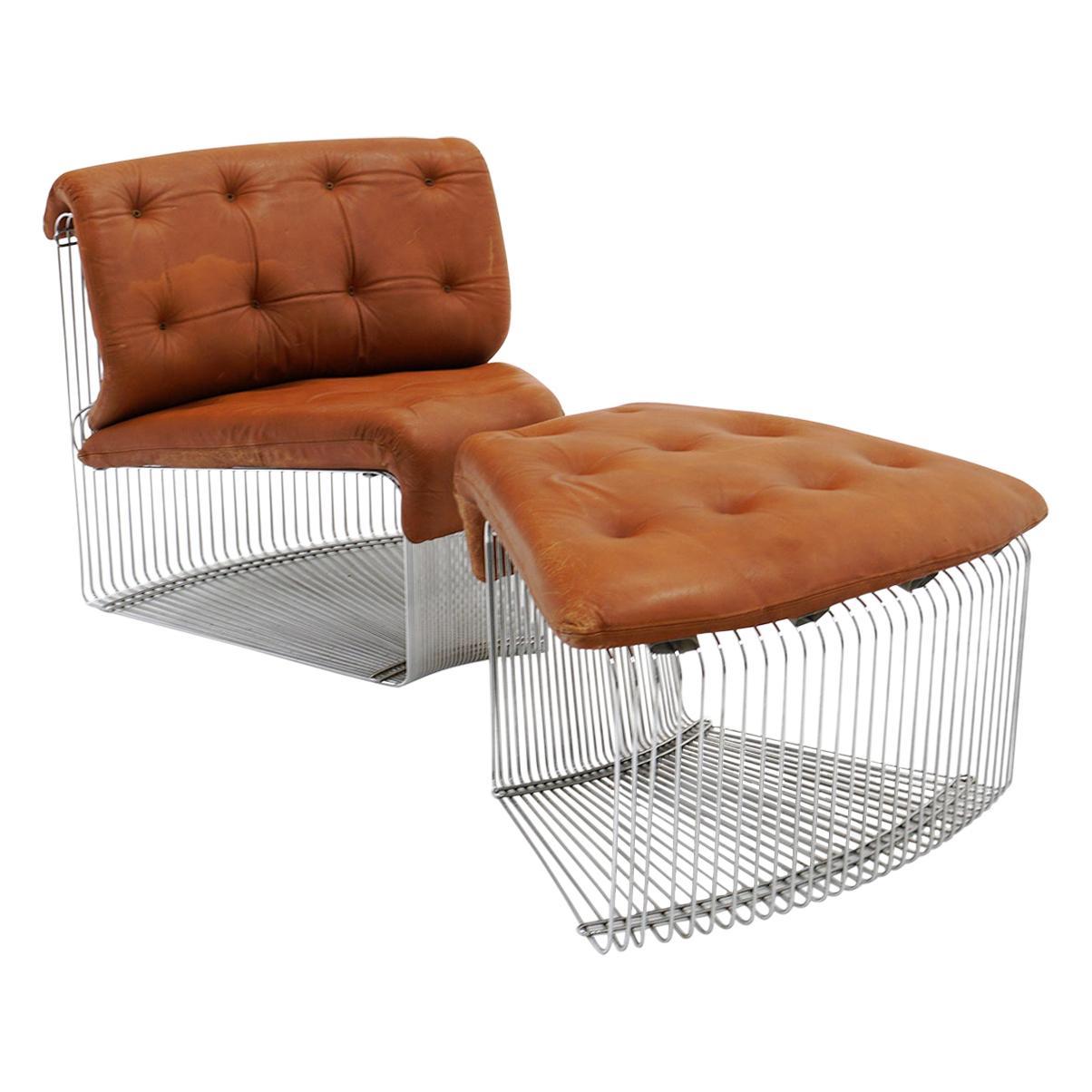 Pantonova Chair and Ottoman by Verner Panton, Chrome Steel and Cognac Leather