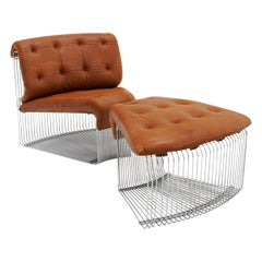 Pantonova Chair and Ottoman by Verner Panton, Chrome Steel and Cognac Leather