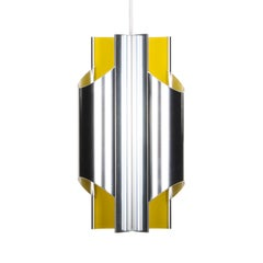 Pantre, Yellow and Aluminium Lamp by Bent Karlby for Lyfa in 1970