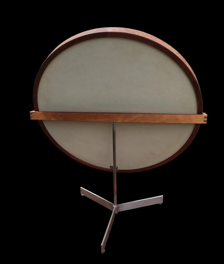 Scandinavian Modern Pao Ferro and Stainless Steel Mirror by Uno and Osten Kristiansson for Luxus For Sale