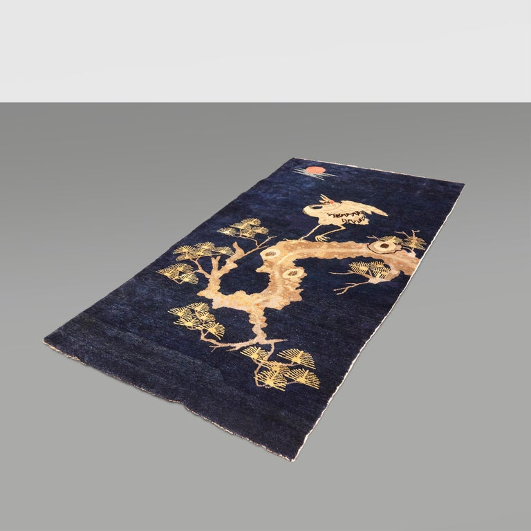 Pao Tou Crane Chinese Export Hand Knotted Wool Antique Rug, Early 20th Century For Sale 14