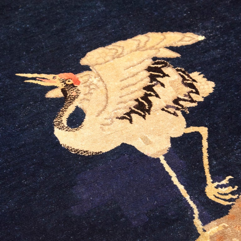 Hand-Knotted Pao Tou Crane Chinese Export Hand Knotted Wool Antique Rug, Early 20th Century For Sale