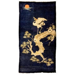 Pao Tou Crane Chinese Export Hand Knotted Wool Antique Rug, Early 20th Century