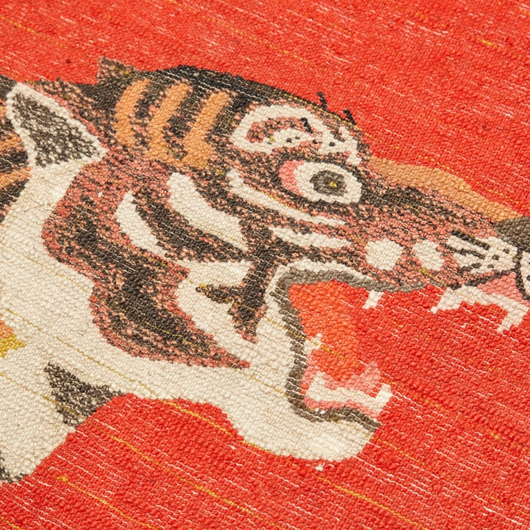 Pao Tou Tiger Chinese Export Hand Knotted Wool Antique Rug, circa 1900 For Sale 9