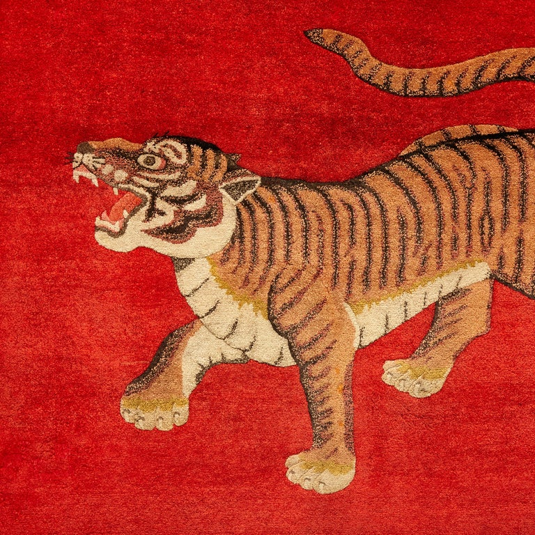 Hand-Knotted Pao Tou Tiger Chinese Export Hand Knotted Wool Antique Rug, circa 1900 For Sale
