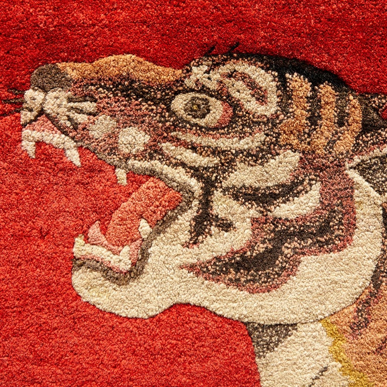 Early 20th Century Pao Tou Tiger Chinese Export Hand Knotted Wool Antique Rug, circa 1900 For Sale