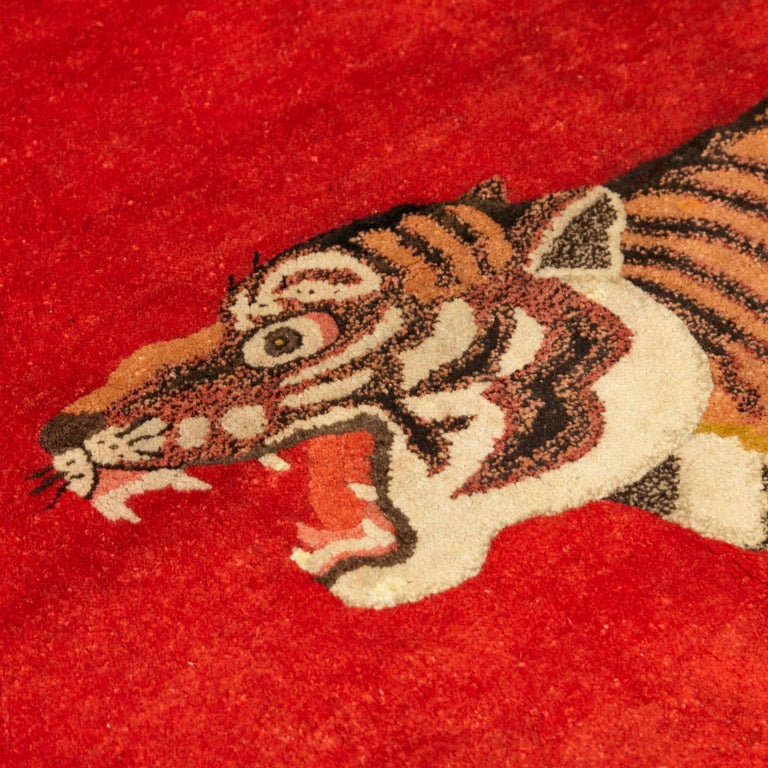 Pao Tou Tiger Chinese Export Hand Knotted Wool Antique Rug, circa 1900 For Sale 4