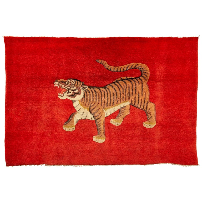 Pao Tou Tiger Chinese Export Hand Knotted Wool Antique Rug, circa 1900 For Sale