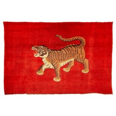 Pao Tou Tiger Chinese Export Hand Knotted Wool Antique Rug, circa 1900