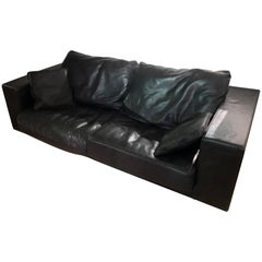 Paola Navone Budapest Elephant Black Leather Sofa for Baxter, 240 cm, 93""