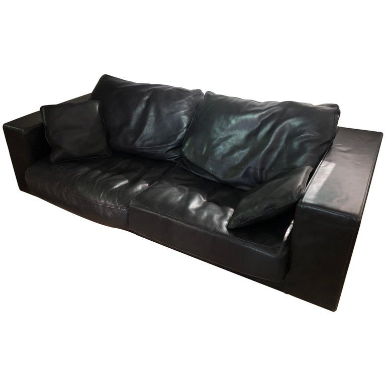 Paola Navone Budapest Elephant Black Leather Sofa for Baxter, 240 cm, 93\