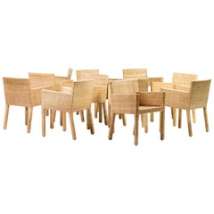 Paola Navone Set of Ten Cane Armchairs