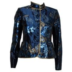 Paola Quadretti Blue & Taupe Metallic Floral Jacquard Jacket
