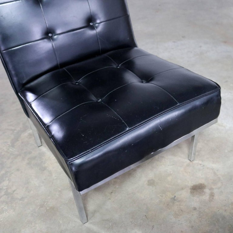 Paoli Chair Co. Black Naugahyde Chrome MCM Slipper Chairs Style Florence Knoll For Sale 5