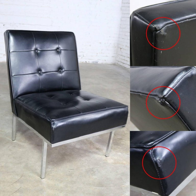 Paoli Chair Co. Black Naugahyde Chrome MCM Slipper Chairs Style Florence Knoll For Sale 8