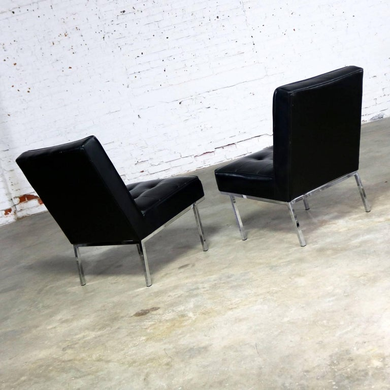 Paoli Chair Co. Black Naugahyde Chrome MCM Slipper Chairs Style Florence Knoll For Sale 1