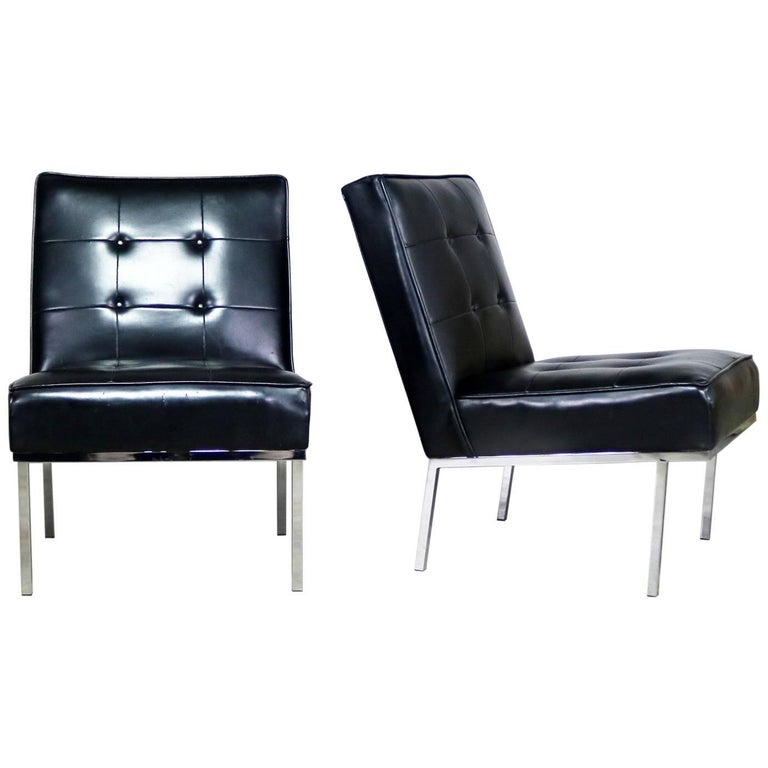 Paoli Chair Co. Black Naugahyde Chrome MCM Slipper Chairs