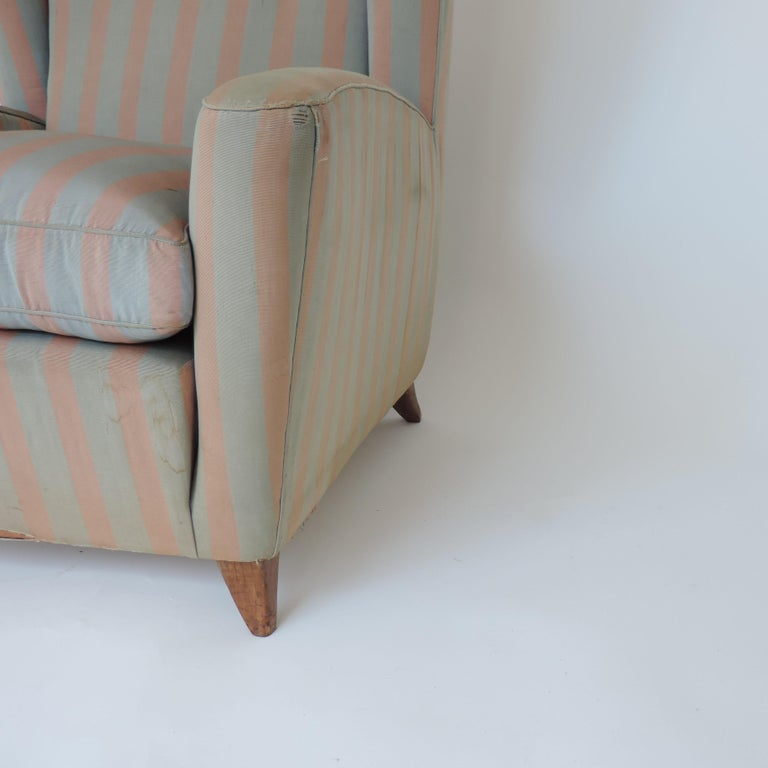 Italian Paolo Buffa 1940s Armchair in Original Pink and Light Grey Stripes Fabric For Sale