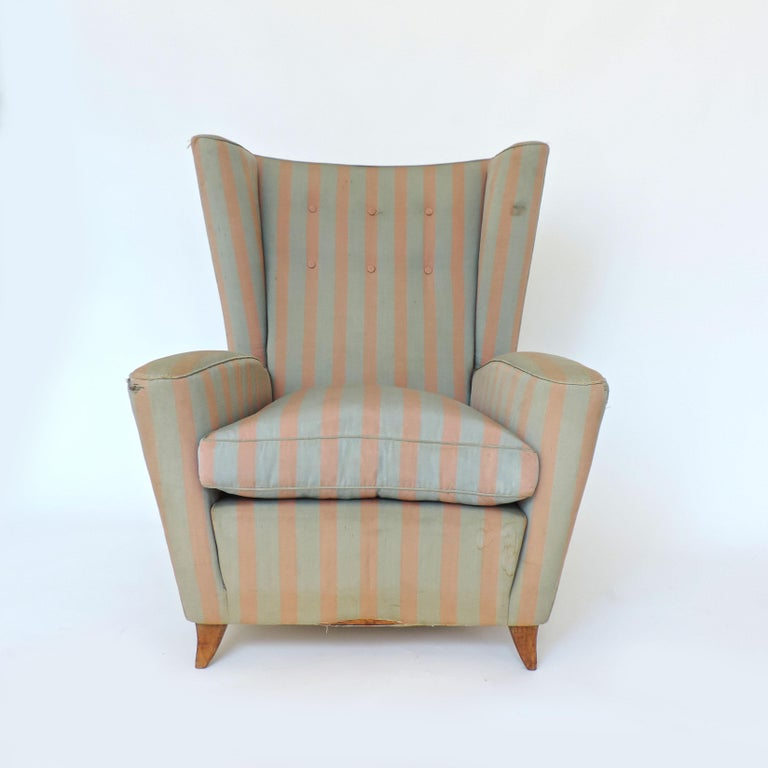 Mid-20th Century Paolo Buffa 1940s Armchair in Original Pink and Light Grey Stripes Fabric For Sale