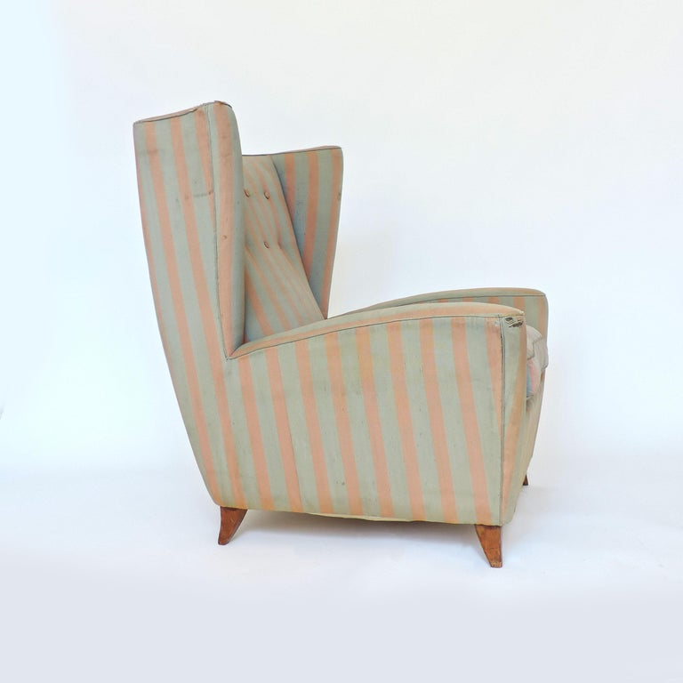Upholstery Paolo Buffa 1940s Armchair in Original Pink and Light Grey Stripes Fabric For Sale
