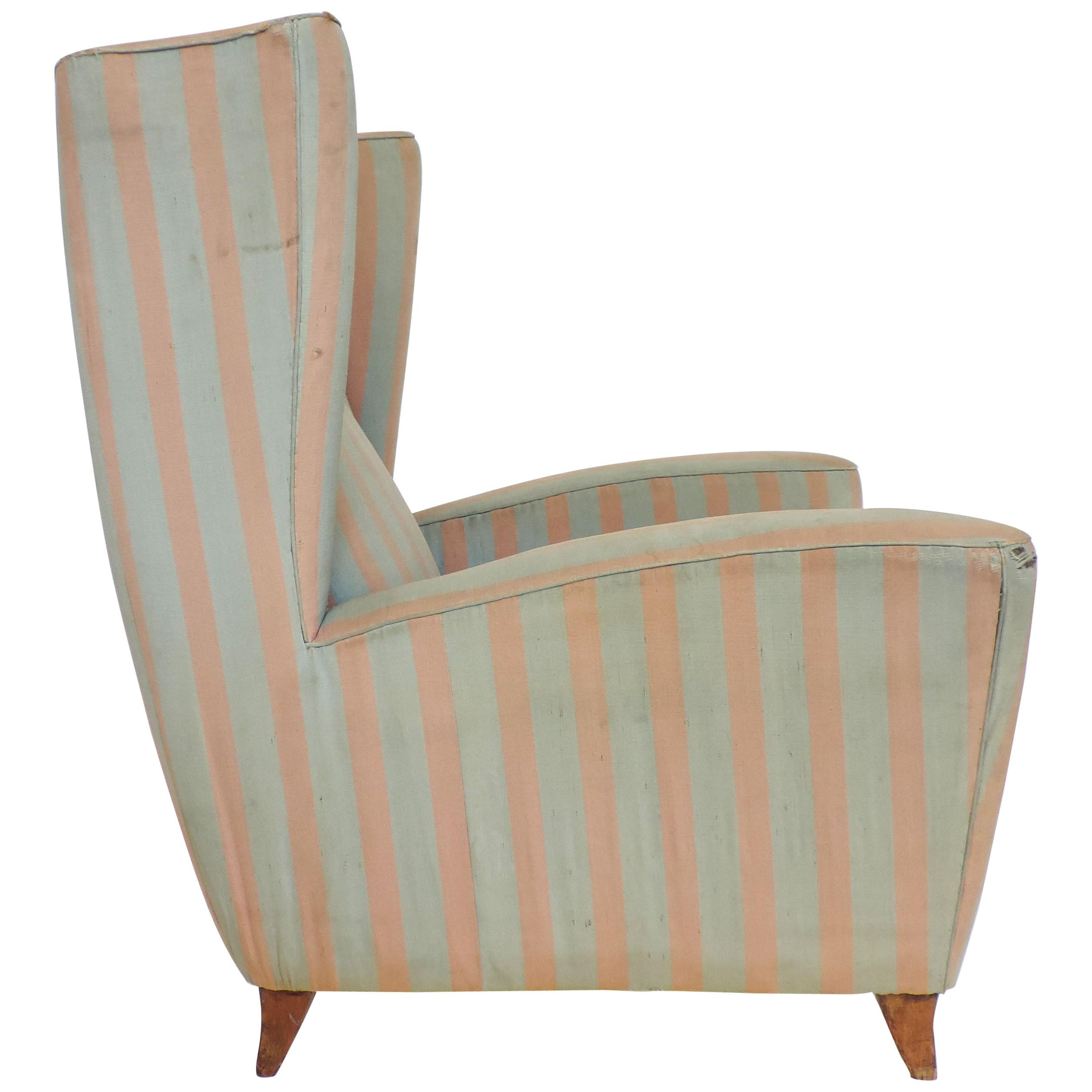 Paolo Buffa 1940s Armchair in Original Pink and Light Grey Stripes Fabric