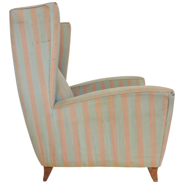 Paolo Buffa 1940s Armchair in Original Pink and Light Grey Stripes Fabric For Sale