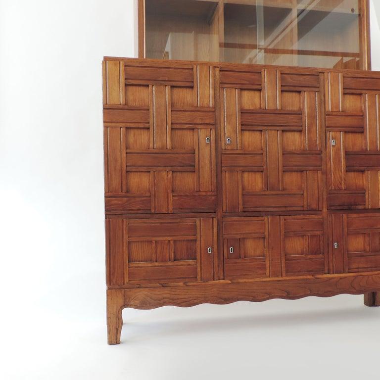 Italian Paolo Buffa 1940s Oak Wood Cabinet Vetrine, Italy For Sale