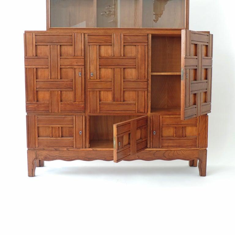 Mid-20th Century Paolo Buffa 1940s Oak Wood Cabinet Vetrine, Italy For Sale