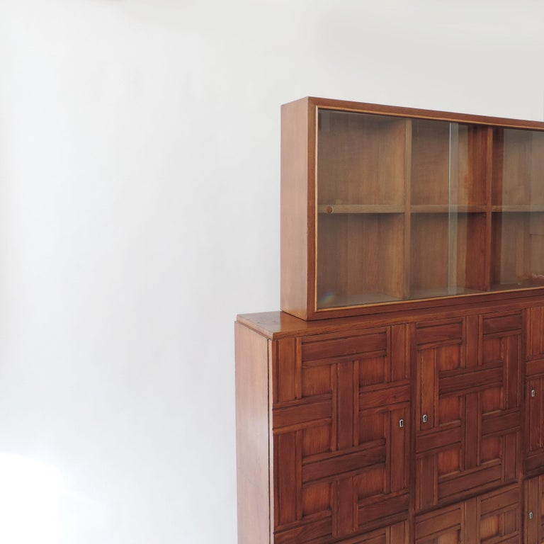 Aluminum Paolo Buffa 1940s Oak Wood Cabinet Vetrine, Italy For Sale