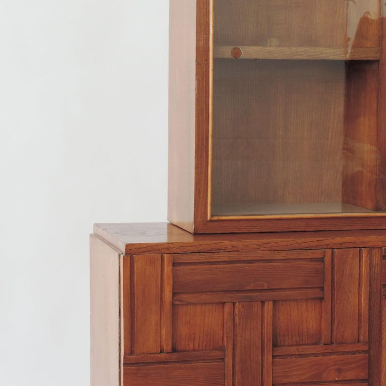 Paolo Buffa 1940s Oak Wood Cabinet Vetrine, Italy For Sale 1