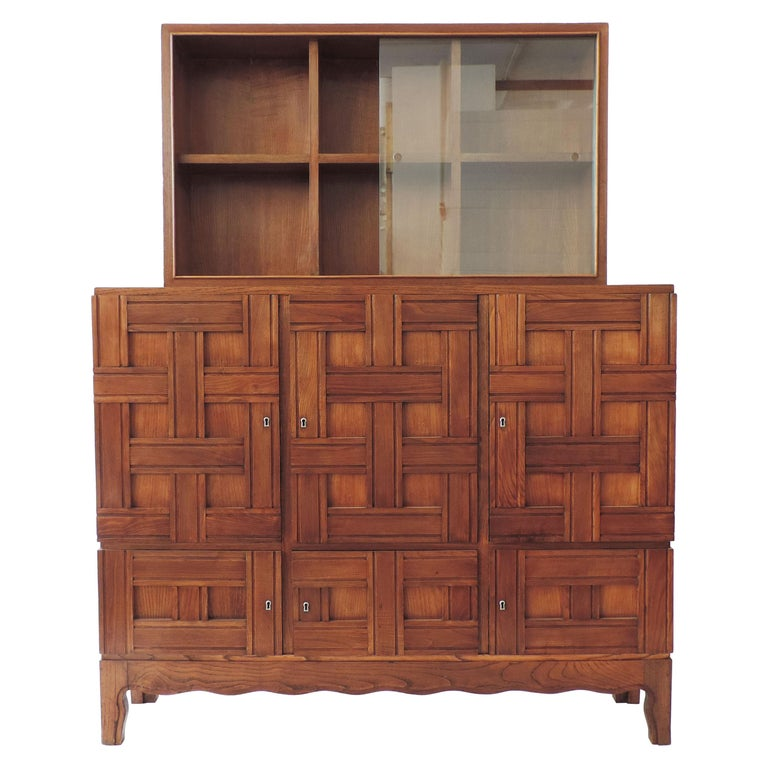 Paolo Buffa 1940s Oak Wood Cabinet Vetrine, Italy For Sale