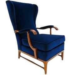Paolo Buffa Armchair in Walnut and Velvet, Italian, 1950s