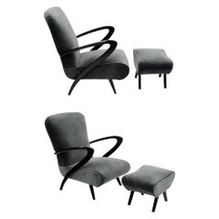 Paolo Buffa Style Armchairs with Footstools